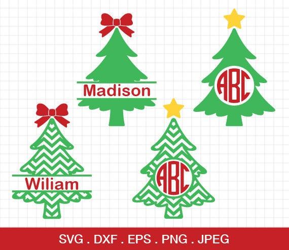 Christmas Bow Svg.Christmas Tree Svg Christmas Tree Monogram Svg Tree With Bow Svg Split Tree Svg Chevron Tree Svg Cricut Files Silhouette Cameo Files
