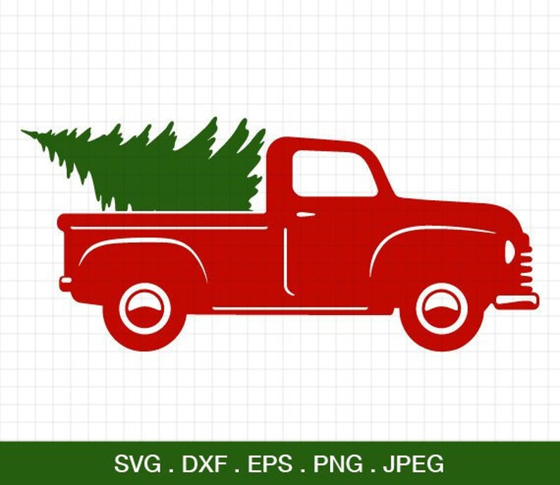 Christmas Truck Svg.Christmas Truck Svg Truck With Tree Svg Christmas Svg Christmas Antique Truck With Tree Silhouette Cricut Files Clipart Svg Files