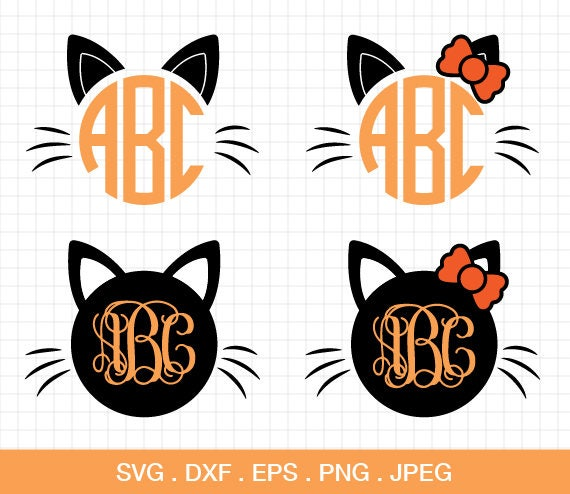 Cat halloween monogram frames SVG Cat bow Halloween Monogram | Etsy