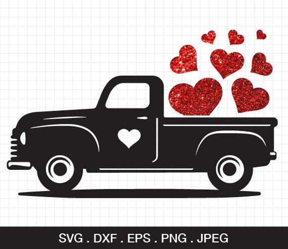 Valentine Truck Svg Valentine S Day Svg Red Truck With Etsy