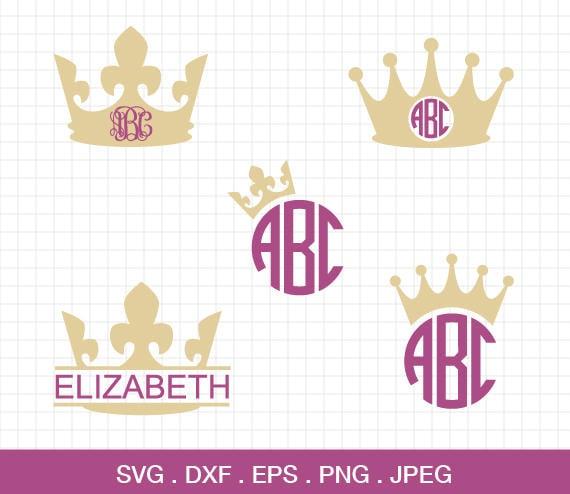 Crown Svg Crown Monogram Frames Svg Crown Frames Svg Princess Crown ...