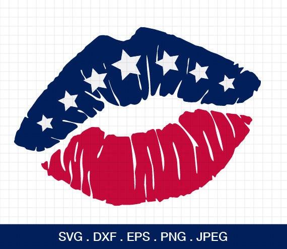 Flag Lips Svg American Flag Lip Svg 4th Of July Svg Etsy