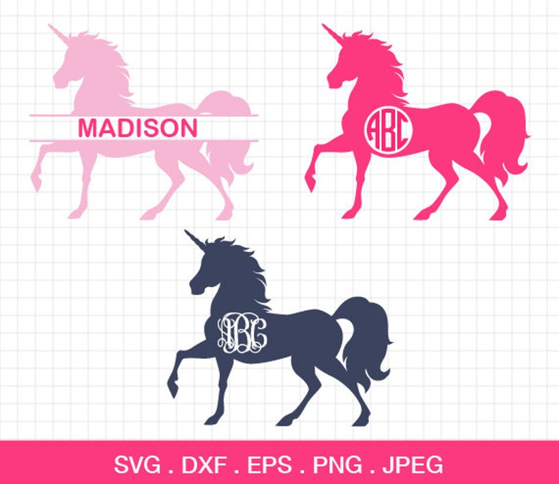 Unicorn Svg, Unicorn vector, unicorn horn svg, Unicorn silhouette, unicorn  monogram frames, cricut cut files, silhouette cut files,