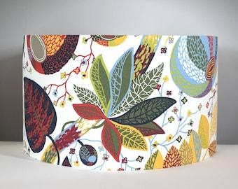 Colourful leaf lampshade, tropical botanical fruit pattern, gold lining option, Scandinavian fabric, 25cm to 45cm Ø handmade by Vivid Shades