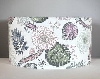 Wild flower Scandinavian fabric lampshade 30cm to 45cm Ø handmade by vivid shades, funky retro  botanical pattern floral leaf tropical