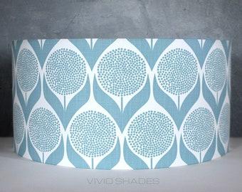 Aqua Teal  Floral flower Handmade lampshade printed fabric pendant light 639