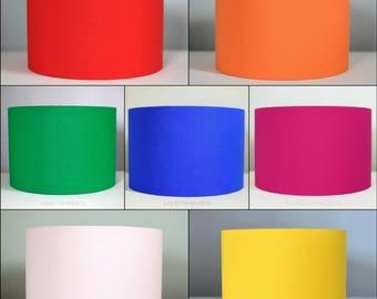 7 vibrant colours, plain scandinavian fabric lampshade, handmade by vivid shades, colours blue blush pink red orange yellow fuchsia green