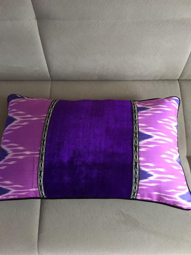 Neon lilac Silk ikat Cushion North African blue ikat pillow cover Uzbek velvet Ikat pillow