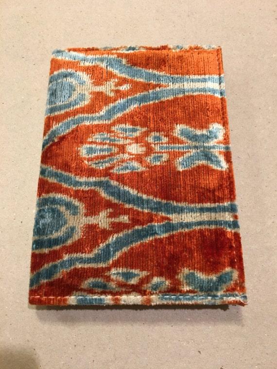 Silk Velvet Agenda ,Silk Handmade Notebook,Silk Ikat,luxury Agenda ,Uzbek Velvet Agenda,Handwoven Silk , (5.51''X3.54'')