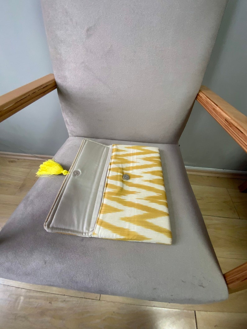 chevron clutch bag ; yellow white boho accent  summer colors silk ikat bakhmal clutch with tassel