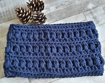 Blue Cowl, Scarf, Crochet Neck Warmer, Crochet Chunky Scarf, Crochet Cowl, Neck Warmer Scarves, Gifts for Women, Gifts for Her, Blue