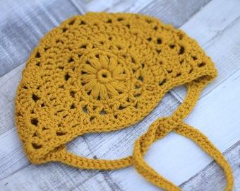 Crochet Bonnet, Crochet Baby Bonnet, Cotton Bonnet, Mustard Baby Bonnet, Baby Bonnet, Crochet Hat, Gifts for Baby, Baby Shower Gift, newborn