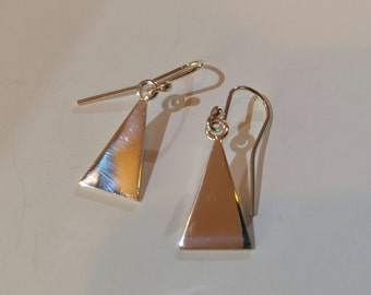 Sterling .925 Silver Triangle Earrings, Geometric, Minimalistic, Dangle Earrings.