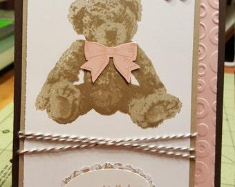 Baby Bear - Girl Birthday card