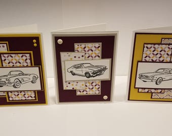 Set of three classic car note cards