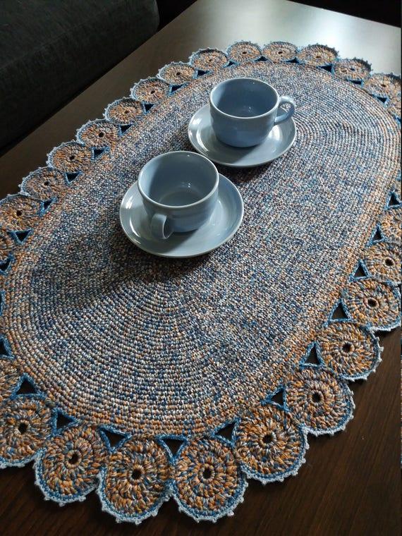 Large Table Mat Handmade Table Mat Crochet Table Mat Oval Etsy