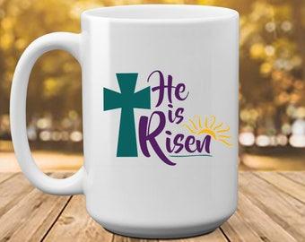 He is risen easter easter gift easter mug gift for he is risen easter easter gift easter mug gift for pastor pastor gift idea pastor wife religious gift bible verse mug gift negle Images
