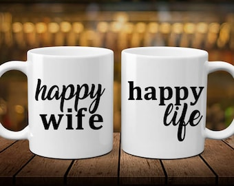 Happy Wife   Happy Life   Couple Gift   Anniversary Gift   Wedding Gift   Birthday Gift   Funny Couple Gift   Engagement Gift   Funny Gift  