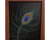 Items similar to Acrylic Dot Painting Peacock feather Canvas