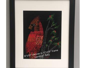 Use coupon code SAVE50 - Acrylic Dot Painting of Cardinal Bird Canvas Wall Art