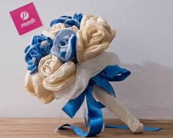 Blue and Beige fabric bouquets