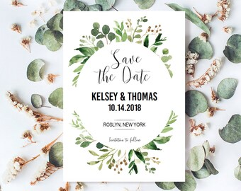 Greenery Save the Date Template Rustic Wedding Save the Date Printable Save the Date Cards Watercolor Save the Date Invitations Wedding PDF