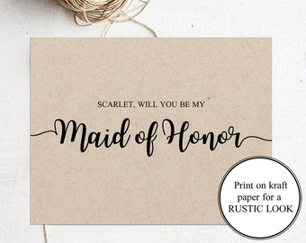 Will you be my Maid of Honor Card Maid of Honor Printable Cards Maid of Honor Proposal Card Bridesmaid Maid of Honor Gift Bridal Proposal