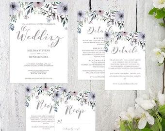 Watercolor Wedding Invitation Suite Template Spring Wedding Invitation Set Printable Purple Flowers Wedding Invitation Editable Wedding SG1