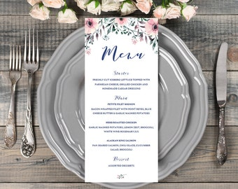 Pink Wedding Menu Template Menu Card Template Menu Printable Menu Wedding Table Setting Wedding Table Decor Wedding Dinner Menu Cards SPG1