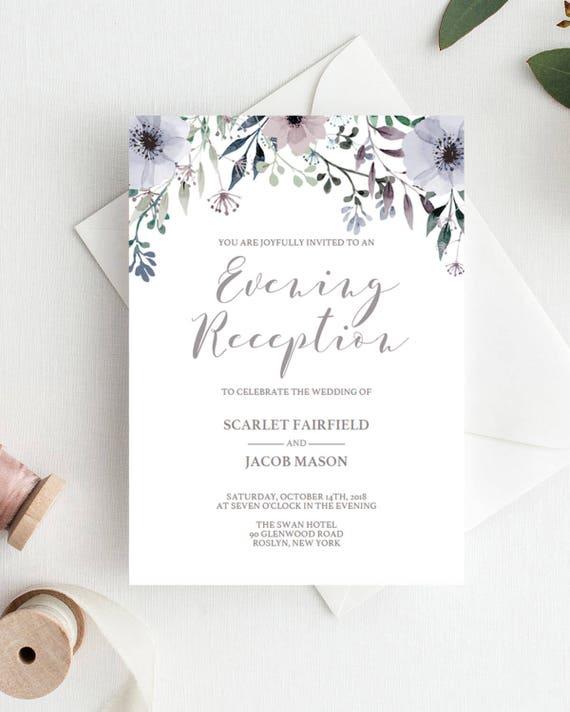 Floral Wedding Evening Invites Template Purple Flower Editable