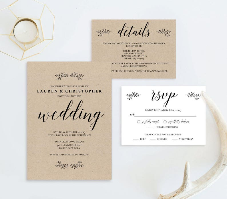 Rustic Wedding Invitation Cards Printable Classic Wedding Etsy
