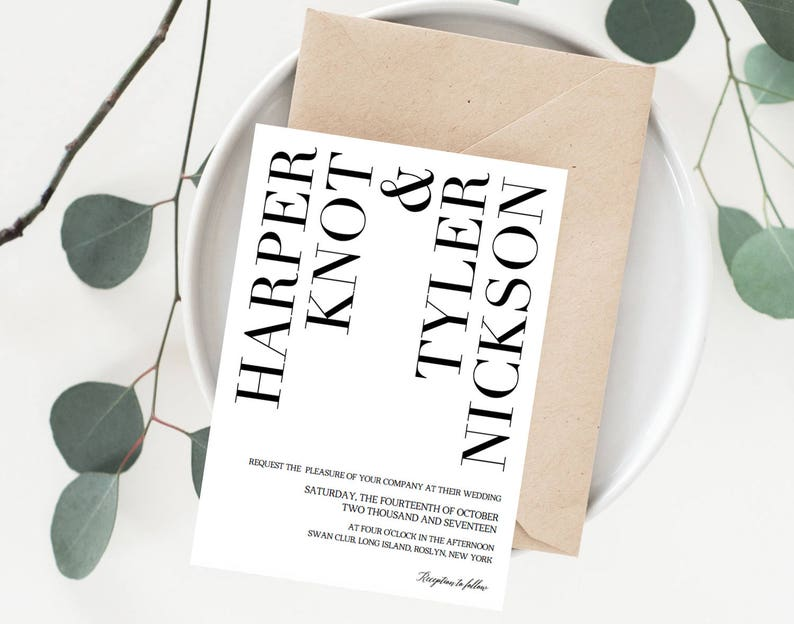 Unique Wedding Invitation Template Modern Create Your Own Etsy