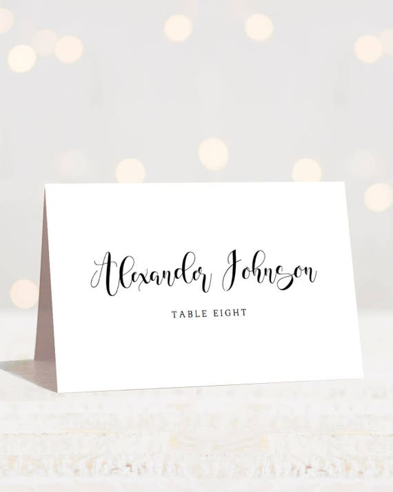 calligraphy wedding place cards template modern wedding name etsy
