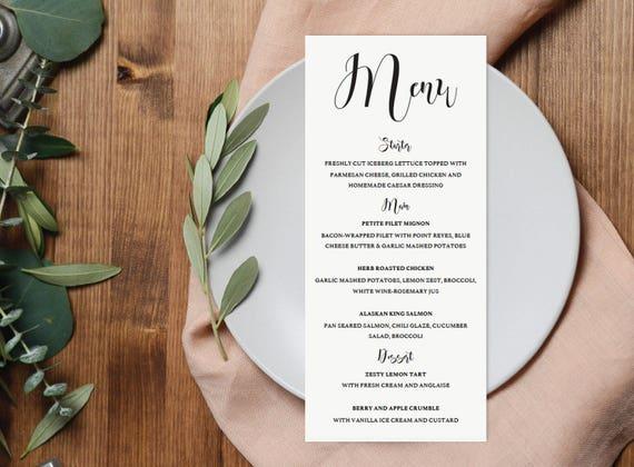 Dinner Menu Template Wedding Cards Calligraphy