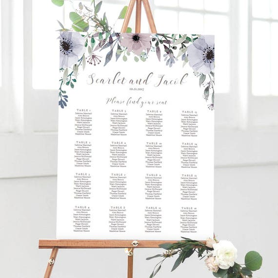 lavender wedding seating chart printable table plan template etsy