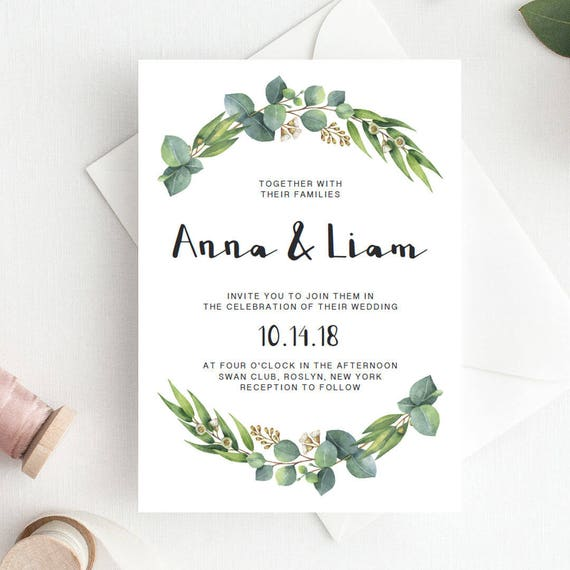 green wedding invitation template download green leaf wedding etsy
