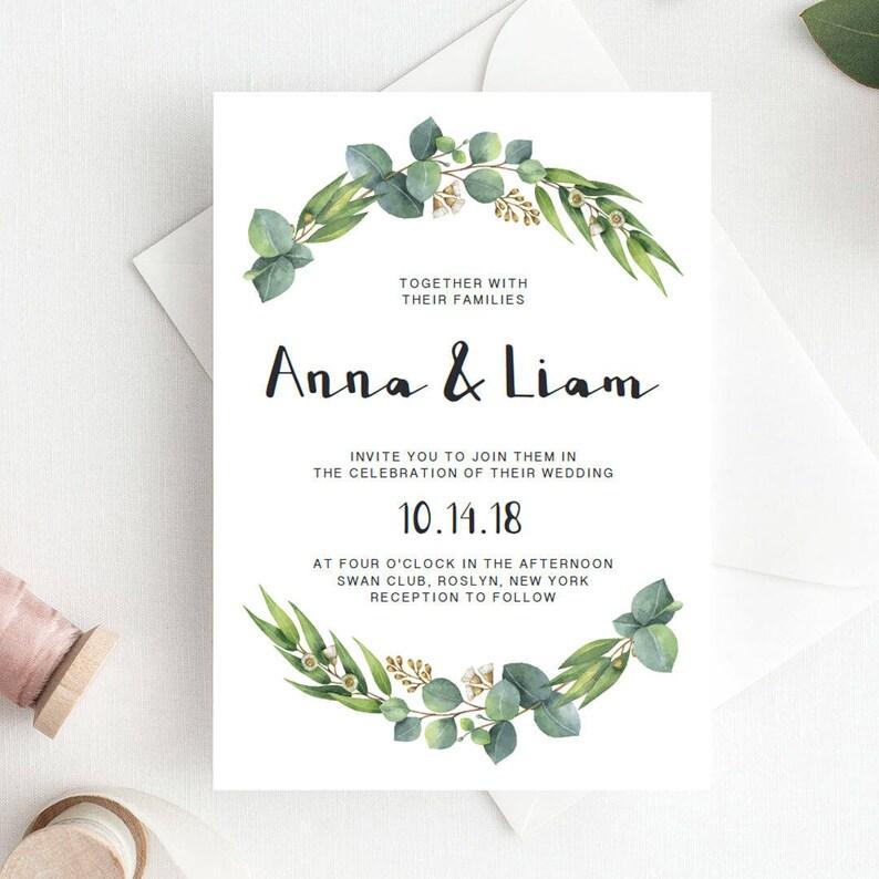 Green Wedding Invitation Template Download Leaf Botanical Invites Eucalyptus Stationery DIY RE1