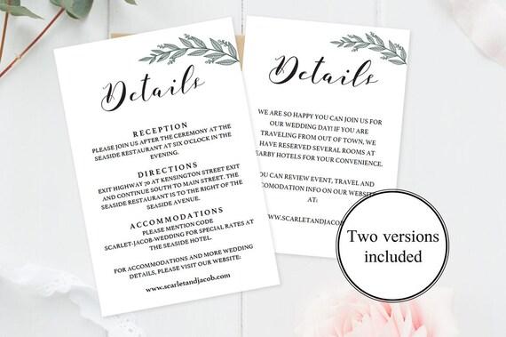 editable wedding details card template rustic wedding etsy