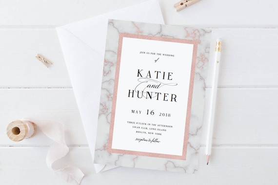 marble wedding invitation template rose gold wedding etsy