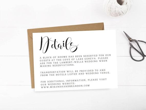 wedding details card template wedding information card etsy