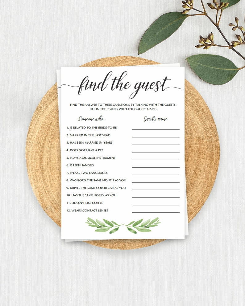 4639ec6cd29 Greenery Bridal Shower Games Printable Find the Guest Game