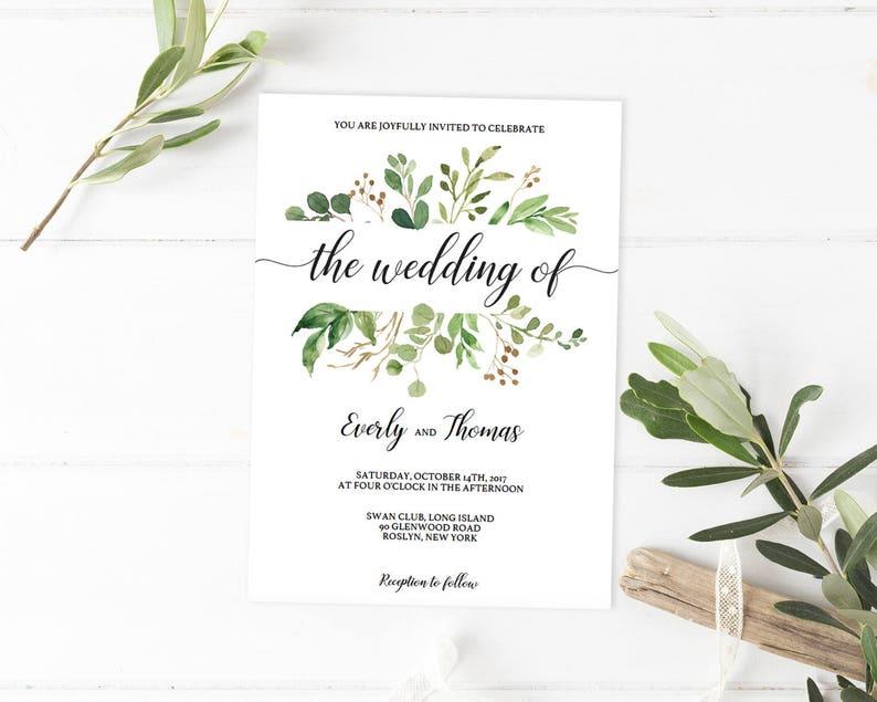 Nature Wedding Invitations Woodsy Invitation Template Woodland Garden Edit Green Weddings WL1
