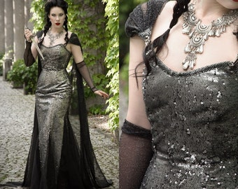 SAMPLE SALE Silver Dragon corset dress with cape, flip up reversible sequins, by Emerald Queen