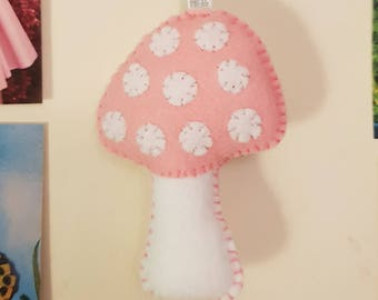 Pink Toadstool Cute Felt Hanging Decoration