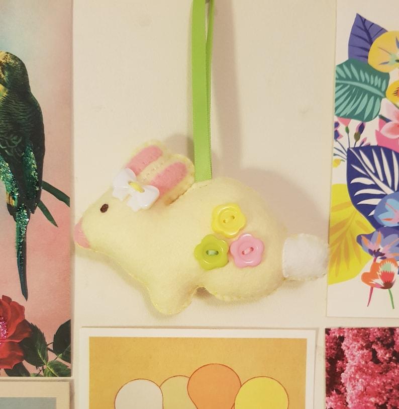 Pastel Bunny Kitsch Felt Hanging Decoration