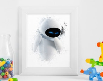 Wall E Eve Printables Instant Download Art Birthday Printable Nursery Party Decorations Invitation ArtID 343