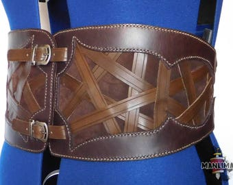 Leather pirate belt