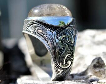 Oval Quartz Silver Vintage Ring Handmade Engraved With Large Gemstone