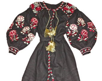Embroidered dress Vyshyvanka Natural linen Ukrainian embroidery Boho dress Maxi dress Long dress Kaftan Abaya Casual Full dress