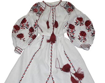 Embroidered Dress Vyshyvanka Mexican dress Embroidered Kaftan Ukrainian dress Overzise abaya Boho Dress Maxi linen Dress Handmade long dress